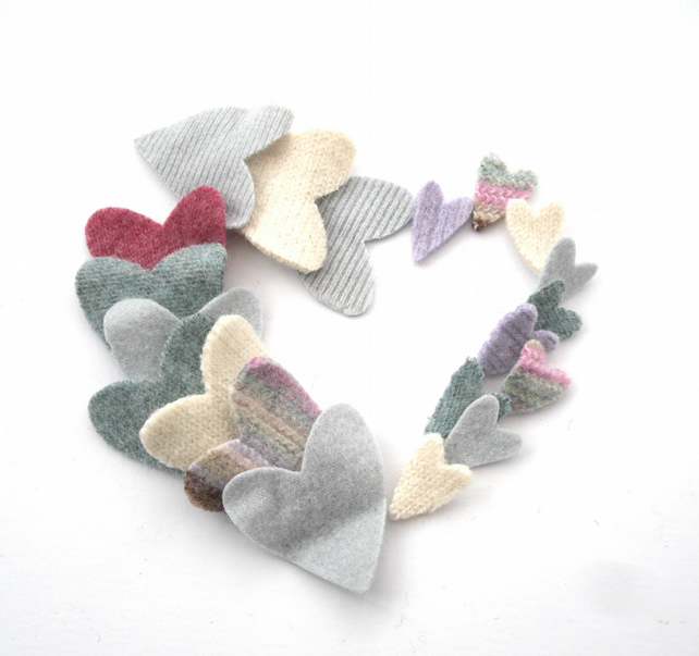 Pastel felt heart shapes made from old recycled wool sweaters
