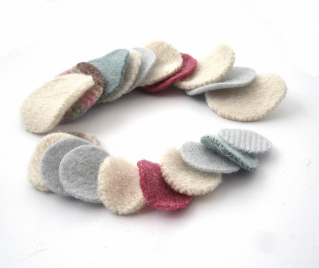Pastel felt circle shapes made from old recycled wool sweaters