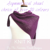 Shawl easy knitting kit