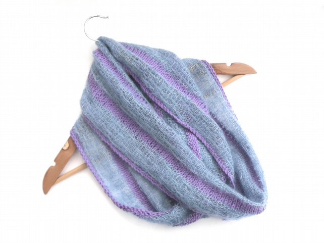 Striped cotton and mohair infinity scarf