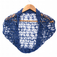 Cap Sleeve Cotton Bolero hand knit in Blue