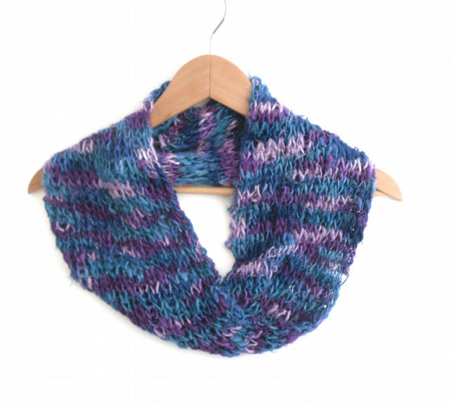 Banana silk cowl in blues and purples