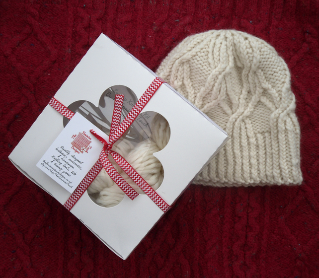 Knitting Kit for Flower Cable Beanie Hat