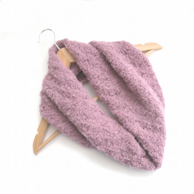 Dusky pink alpaca boucle hand knitted cowl