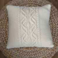 Cream Wool Cable Cushion