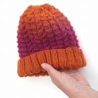 Knitted Beanie Hat in Orange and Pink