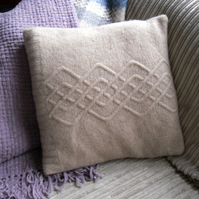Taupe Lambswool Cushion recycled from old sweater