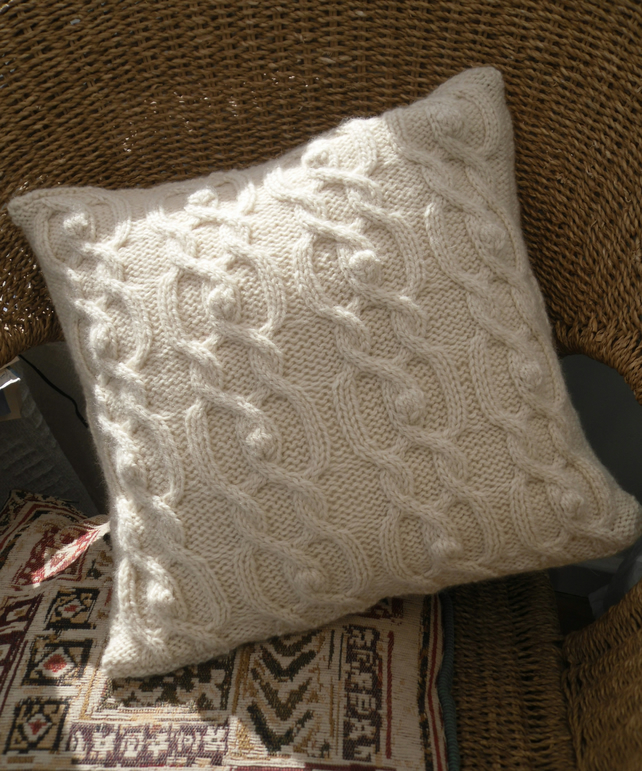 "Pillow throw 14"" x 14"". Cable knitted cushion cover"