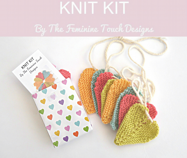 Tiny baby heart bunting knit kit