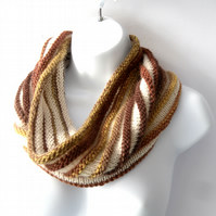 Chocolate Bananas and Cream , hand knit striped cowl HALF PRICE