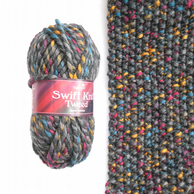 Stylecraft Swift Knit Tweed , Chunky 100 gram balls , FREE PATTERN REDUCED PRICE