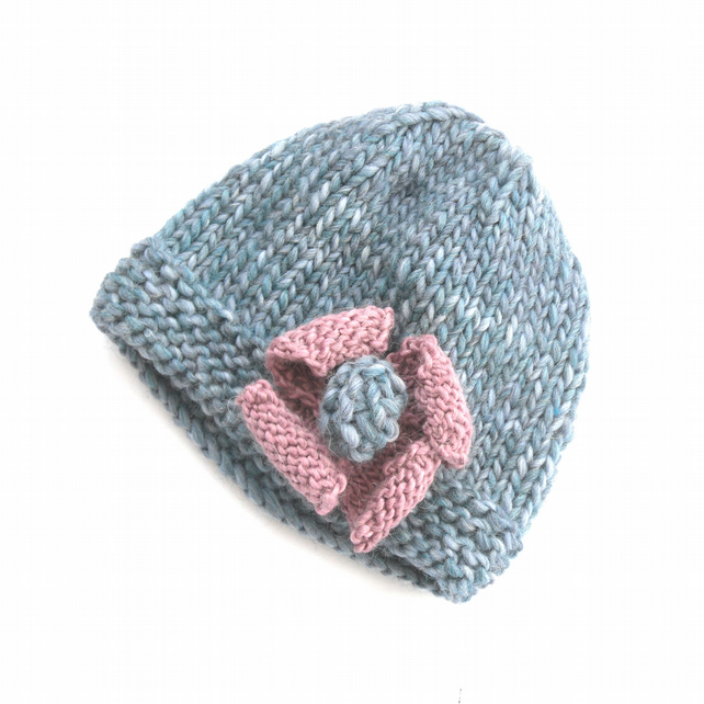 Blue wool hand knit hat