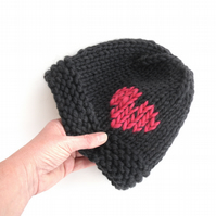 Black hand knit 100% wool hat