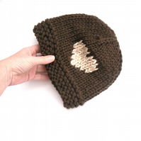 Warm Brown Hat , Hand knitted chunky wool hat with cream decorated heart