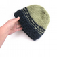 Striped Hat in green and navy blue hand knit in 100% wool