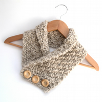 Chunky Taupe Cashmere Neck Warmer