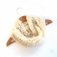 Feminine Cream lace Cowl knit in Kid Mohair