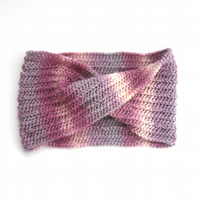 Pink Striped hand knitted wool cowl scarf