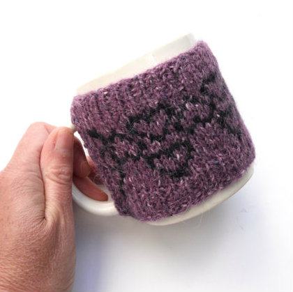 Purple heart mug cosy , ideal christmas gift