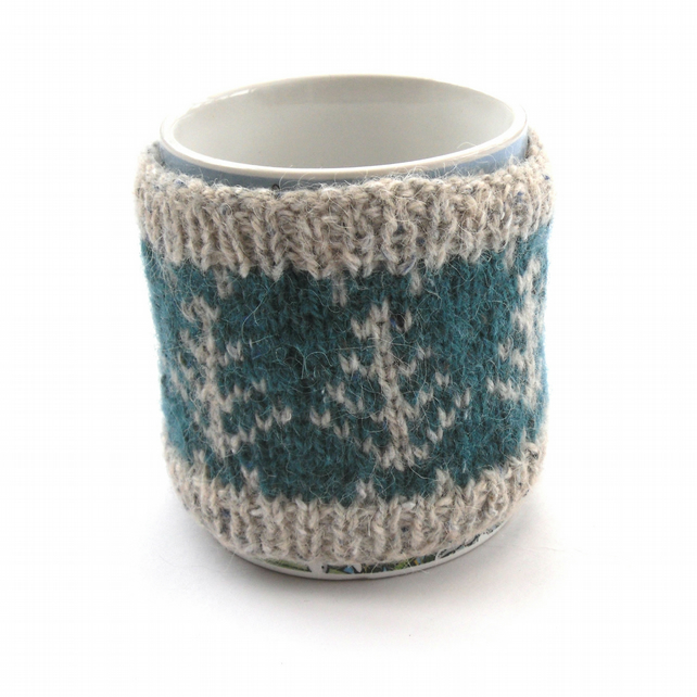 Hand knit autumn mug warmer
