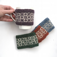 Sheep mug hugs , fair isle knitted cosies
