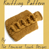 Knitting Pattern for a cable knotted hot water bottle cover