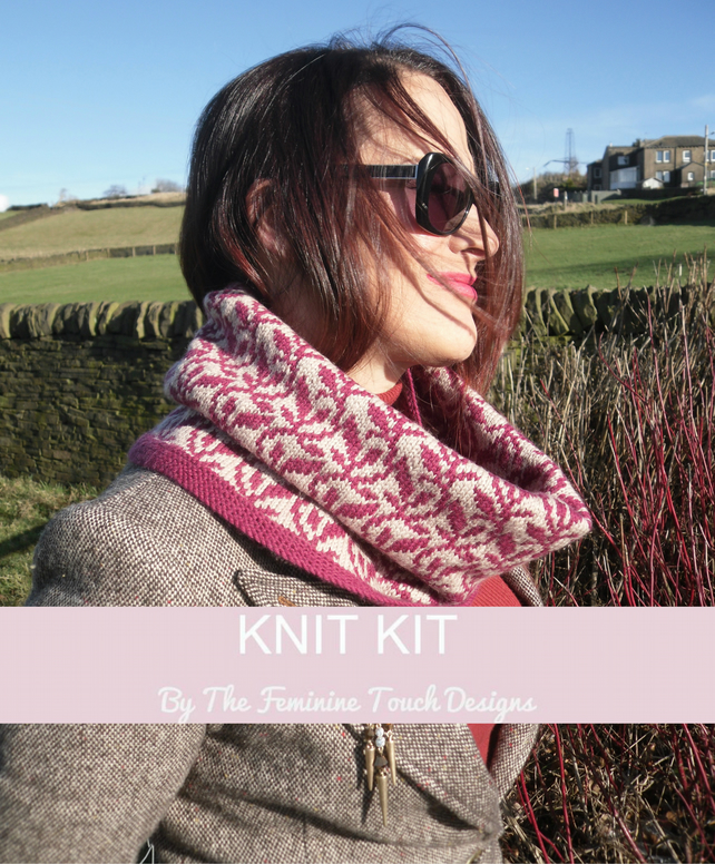 Knitting Kit for a Fair Isle trailing leaves cowl