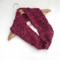Pink knitted banana silk cowl