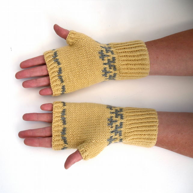 Women's yellow fair isle fingerless gloves