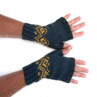 Men's Blue fair isle fingerless gloves