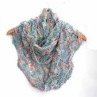 Infinity Scarf , hand knit , hand dyed , Years gone by