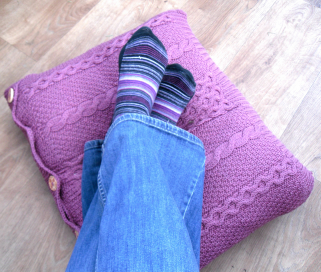 Recycled Pink Cable Cushion