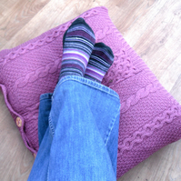 Recycled Repurposed Pink Cable Cushion