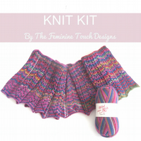 Lace Shawlette scarf knitting kit