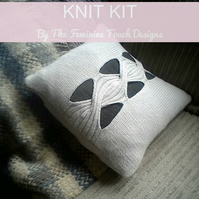 Wool Angora Cushion knitting kit with feature cable
