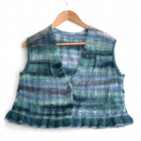 Mohair hand knitted cropped sleeveless jacket waistcoat