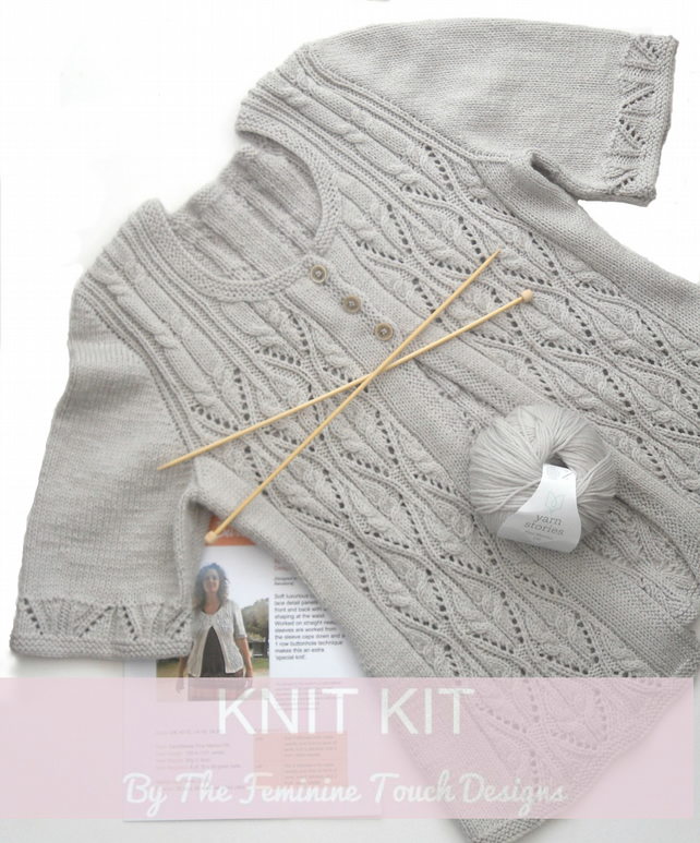 Barcelona Cardigan Knitting Kit , lace and cable knit
