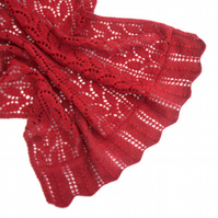 Red hand knitted lace shawl ,  throw