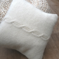 "Cream Mohair Cable Cushion with brown and cream tartan back 14"" x 14"""