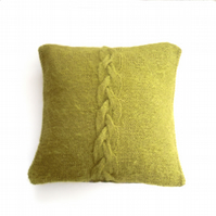 "Green hand knit mohair cushion cover 14"" x 14"""