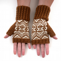 Coppery Brown & White hand knit fingerless gloves