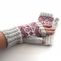 Grey & Red hand knit fingerless gloves