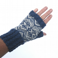 Navy Blue & Grey hand knit fingerless gloves