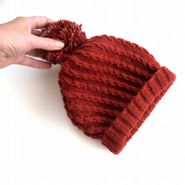 Rust Red hand knit hat