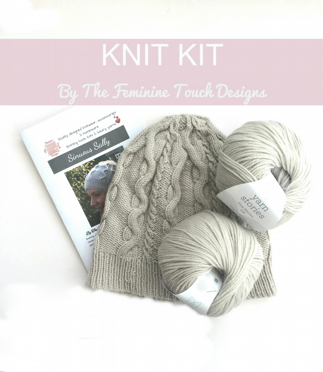 Cabled Hat Knitting Kit available in 25 different colour choices
