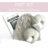 Cabled Hat Knitting Kit available in other colours