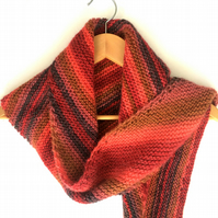 Red chunky striped shawl