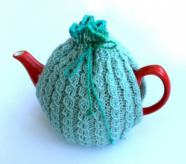 Light Blue knitted tea cosy