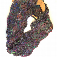 Chunky hand knit  wool , silk , mohair lace infinity scarf