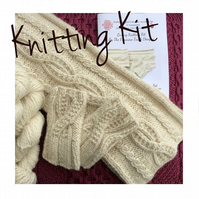 Alpaca Cable Scarf and hand warmer knitting kit